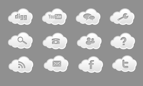 Cloud Icons White